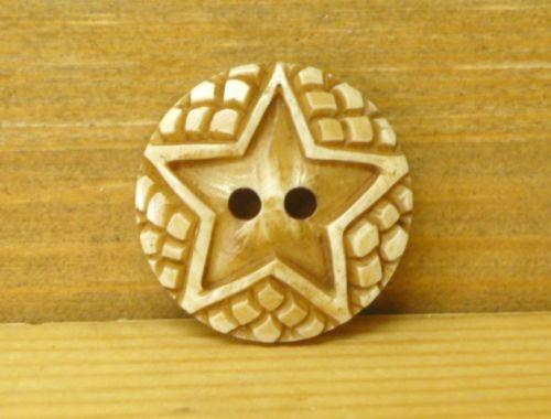 Hand carved - Round Button - Star