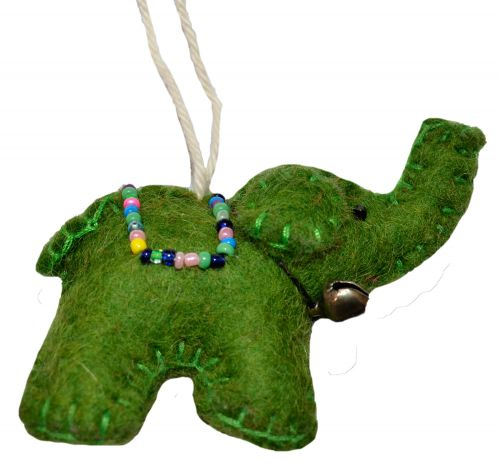 Felt - Christmas Decoration - Elephant - Green