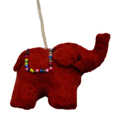 Felt - Christmas Decoration - Elephant - Red