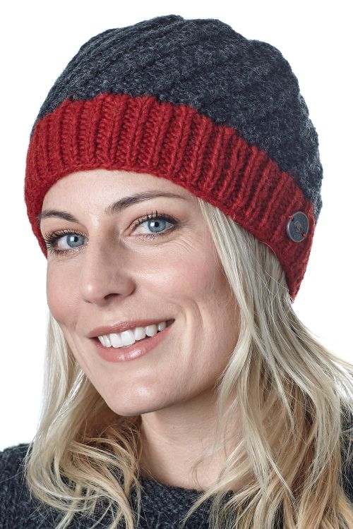 Pure wool - half fleece lined - border beanie - Charcoal/Red