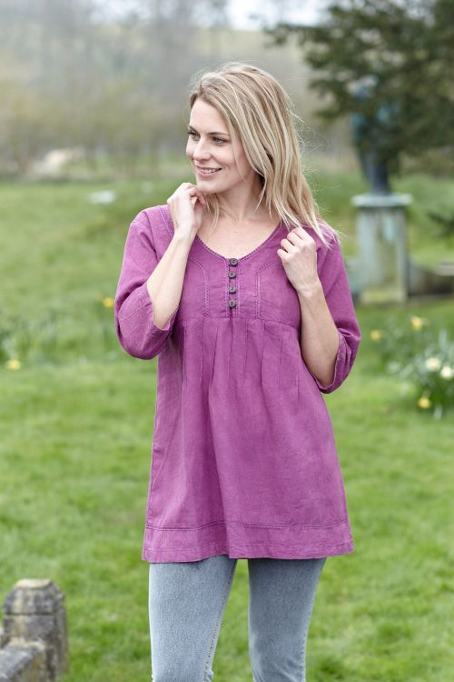 Pin tuck - pure cotton - summer top - berry