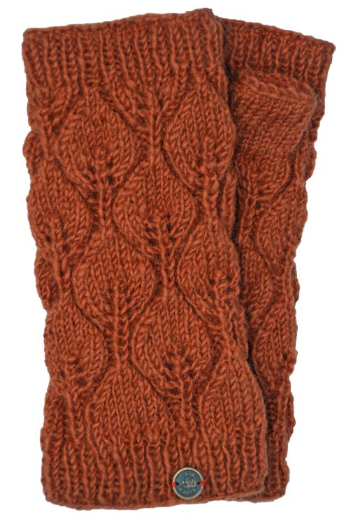 Fleece lined - leaf pattern -  wristwarmers - spice