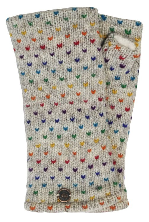 Fleece lined wristwarmer - rainbow tick - Pale grey