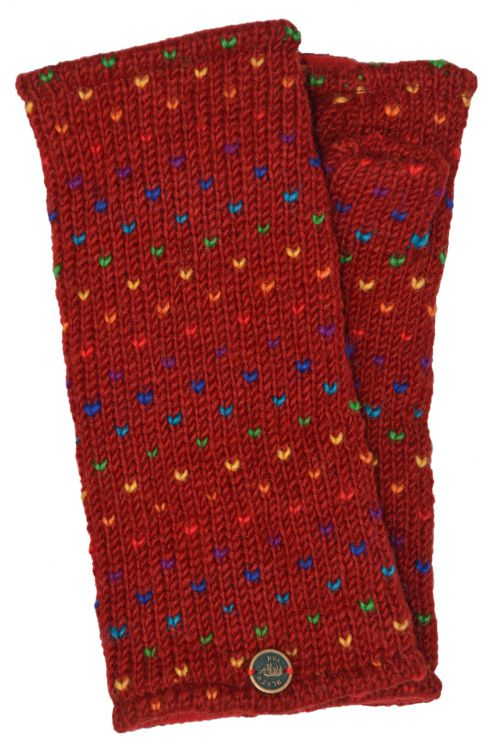 Fleece lined wristwarmer - rainbow tick - Red
