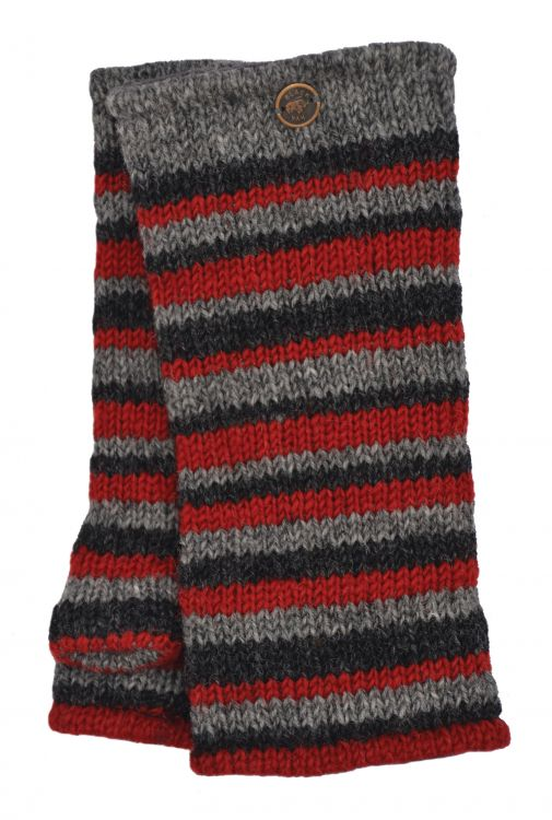 Fleece lined - Random Stripe - Wristwarmer  - Natural/Red