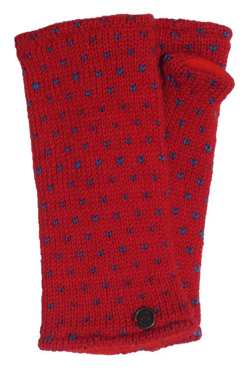 Fleece lined wristwarmer - tick - Red/blue