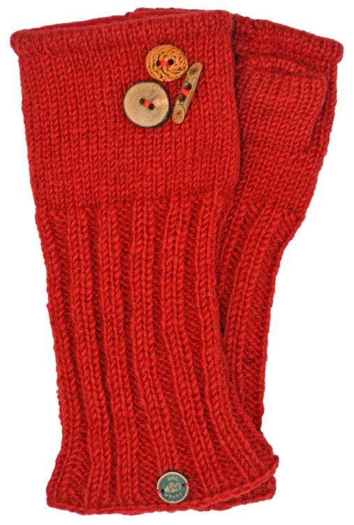 Fleece lined wristwarmer fruit button - Red