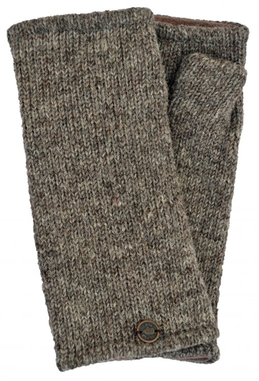 Fleece lined wristwarmer - Plain - Pale marl brown