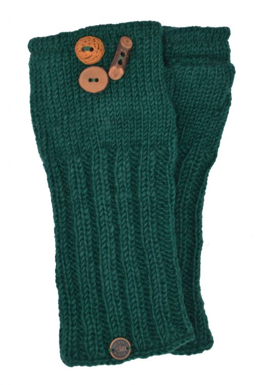 Fleece lined wristwarmer fruit button - Emerald
