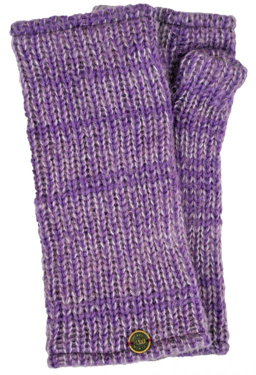 Fleece lined - Fine Wool Mix - wristwarmer  - Violet