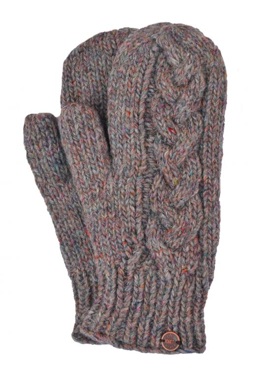 Fleece lined mittens - Cable - Pale heather