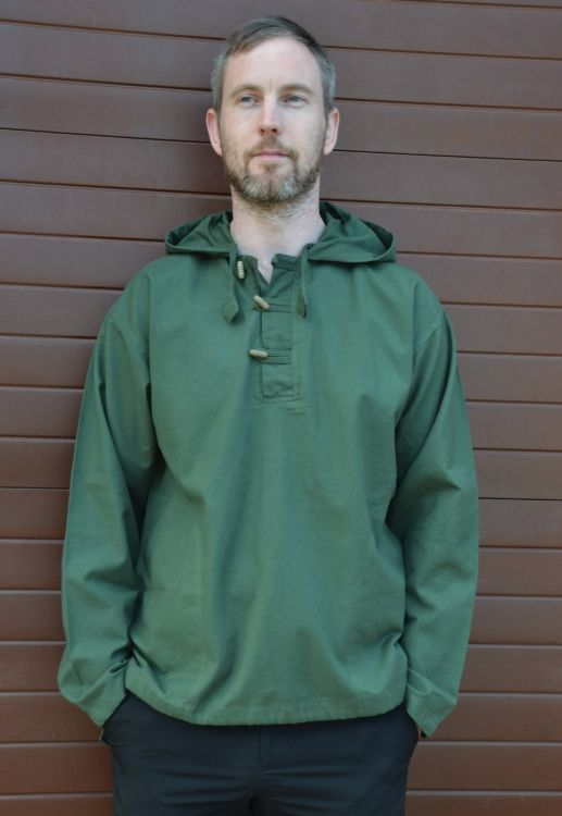 Hooded Shirt With Toggles - Green