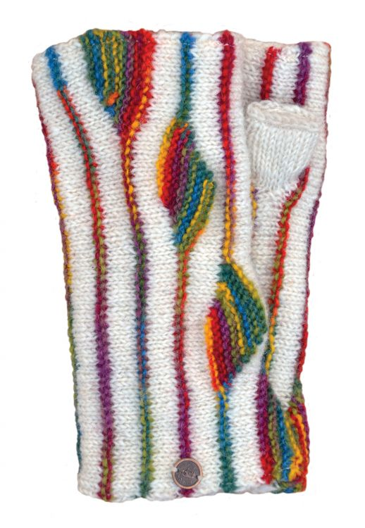 NAYA - pure wool - flame - wristwarmer - white