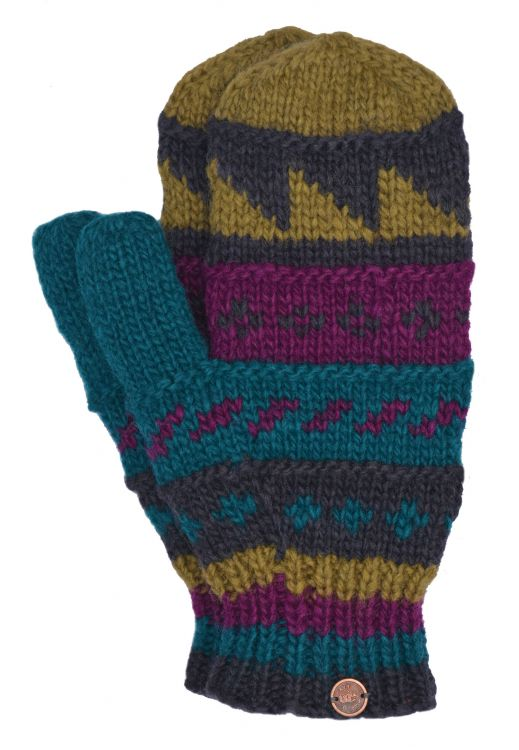 Fleece lined  mittens - patterned - Jewel