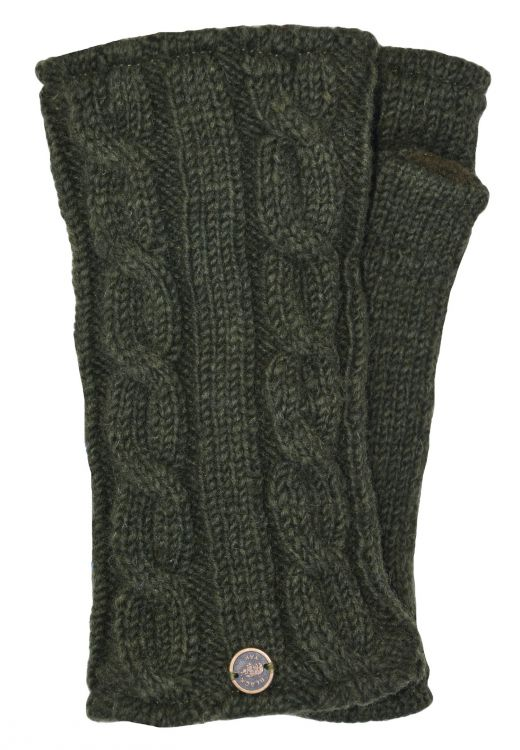 Fleece lined wristwarmer - cable - Dark green