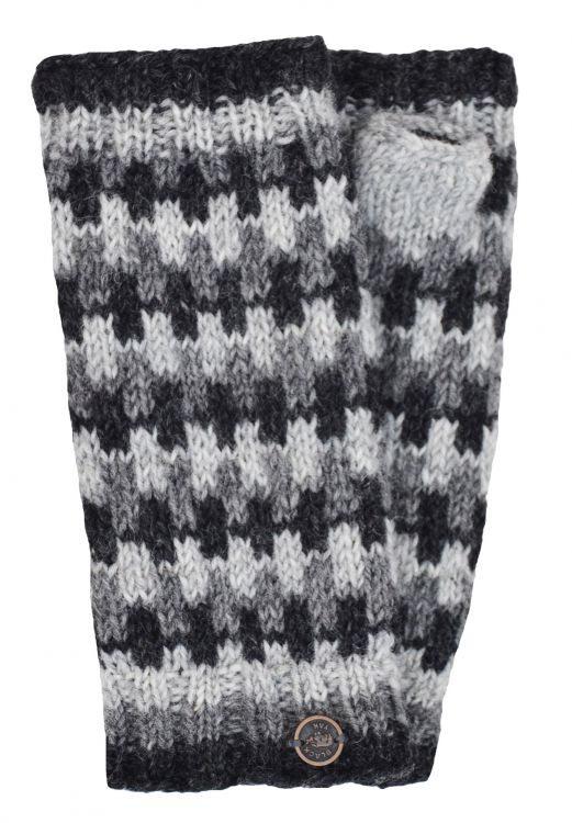 NAYA - Fleece lined wristwarmers - geometric - natural greys