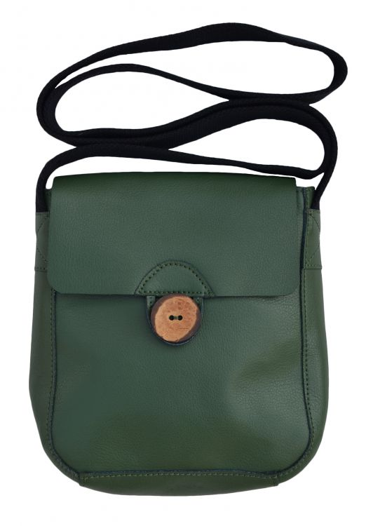 Leather Pouch Bag - Green