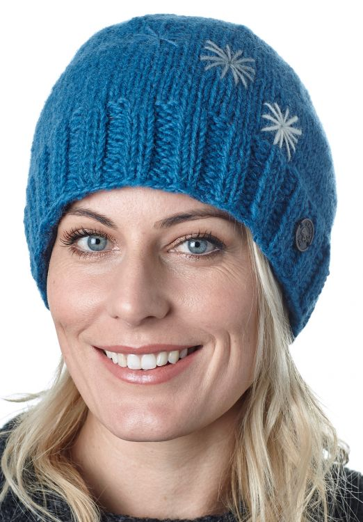Hand embroidered - three star beanie - blue