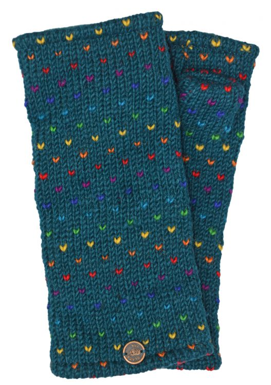 Fleece lined wristwarmer - rainbow tick - pacific