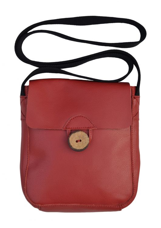Leather Pouch Bag - Red