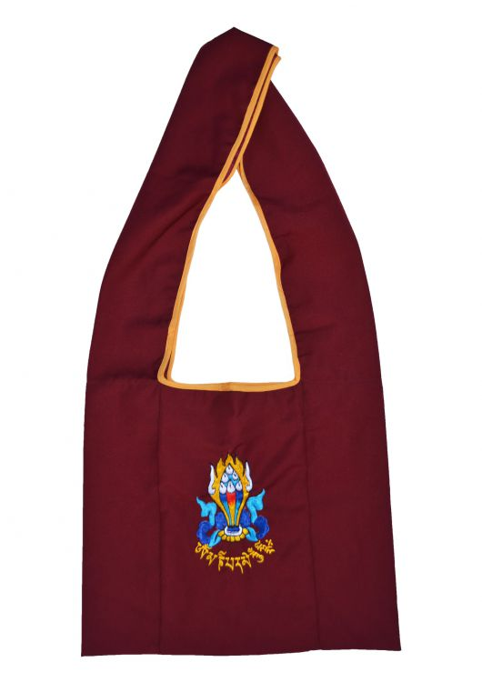 Buddhist - embroidered motif - bag - maroon