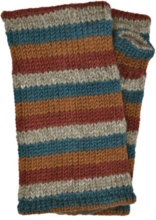 Children's Fleece lined - stripes - wristwarmers - Brick
