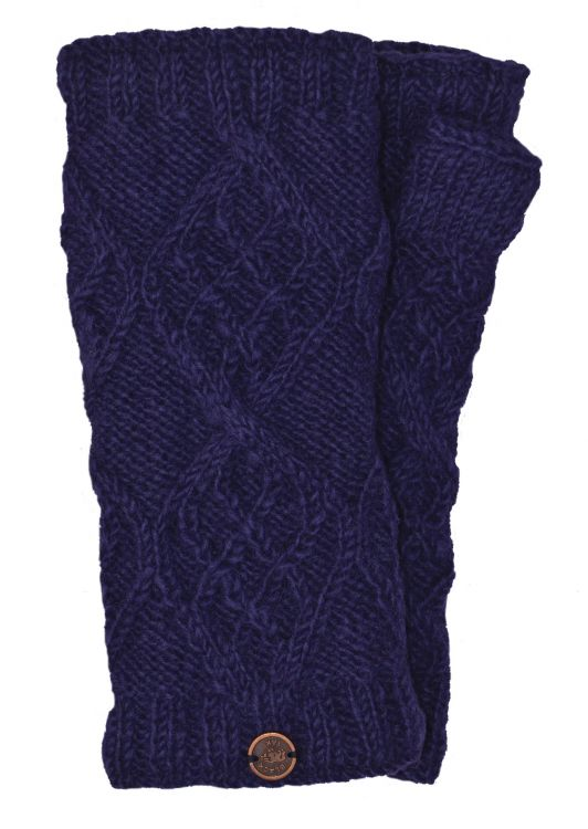 Fleece Lined - Wristwarmers - Trellis Diamond - Dark Blue