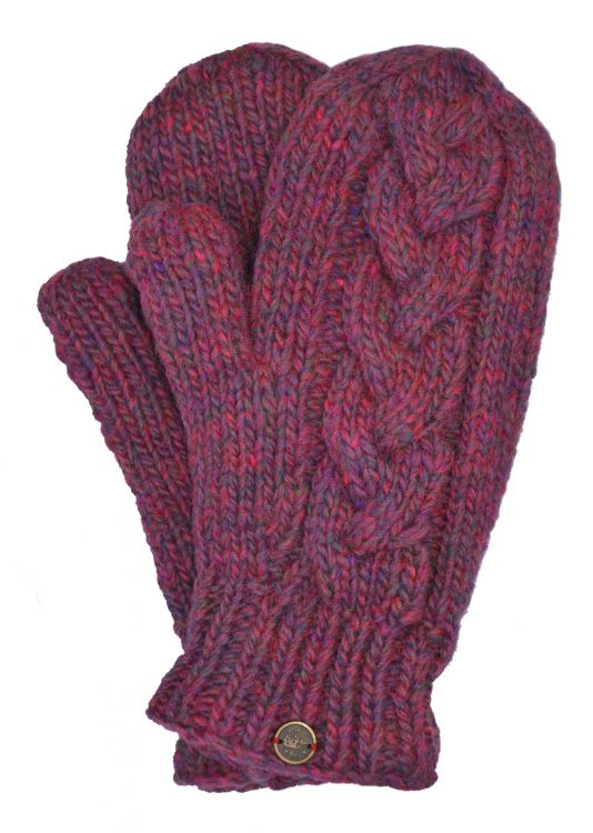 Fleece lined mittens - Cable - Pink heather