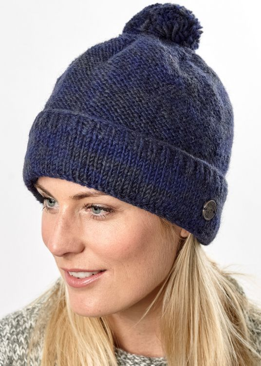 Two tone turn up - bobble hat - Blue/smoke