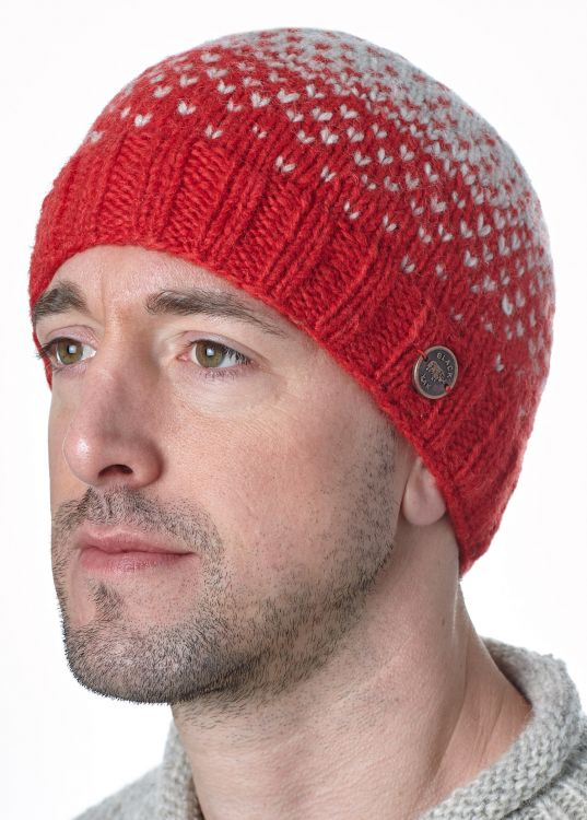 Graduated tick beanie - Red/grey