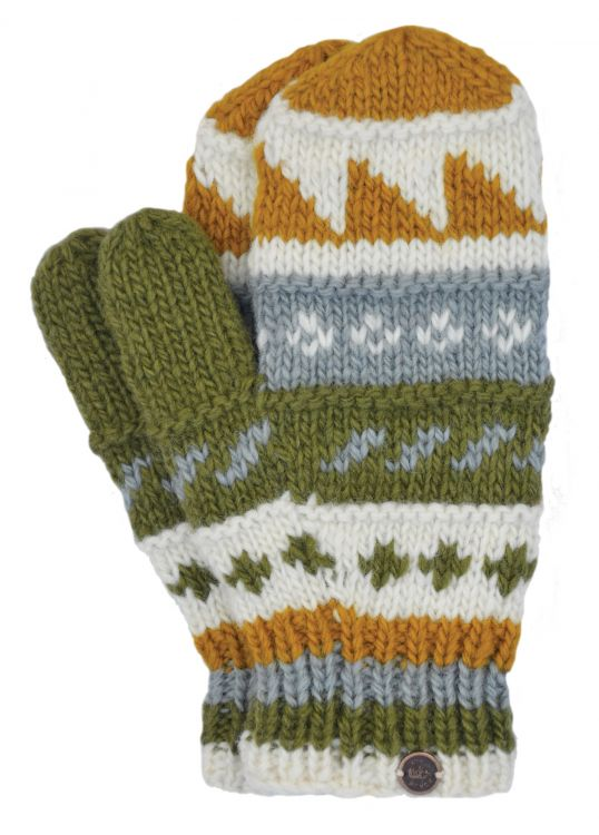 Fleece lined  mittens - patterned - Green Mustard