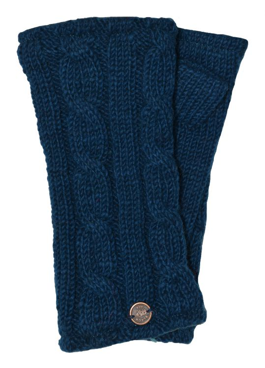 Fleece lined wristwarmer - cable - teal