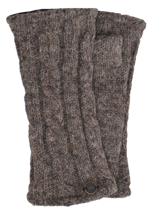 Fleece lined wristwarmer - cable - Natural browns