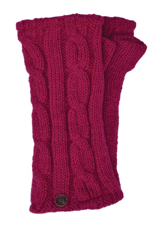 Fleece lined wristwarmer - cable - Bright Pink