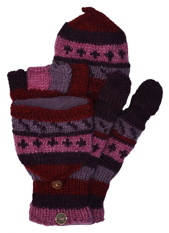 hand knit - pattern mitts - berries
