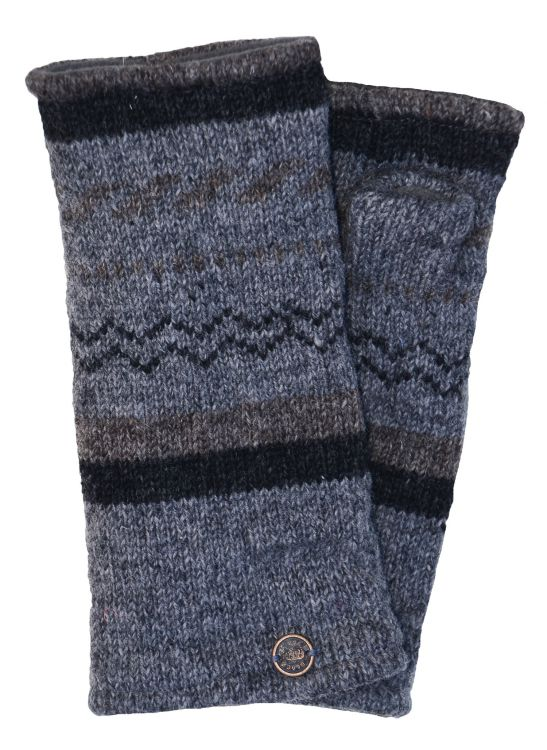 Fleece lined wristwarmer - zigzag - Mid Grey