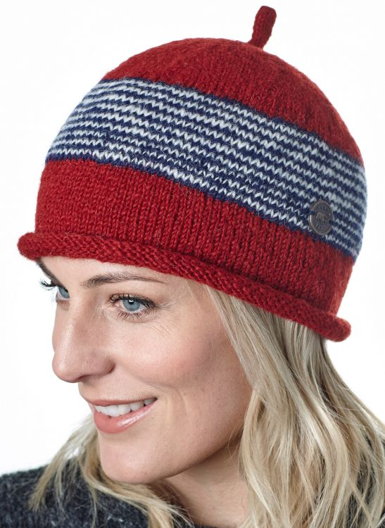 Half fleece lined - pure wool - pippet beanie - Red/grey/blue