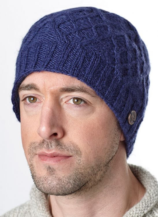 Trellis Diamond Beanie - pure wool - Dark Blue