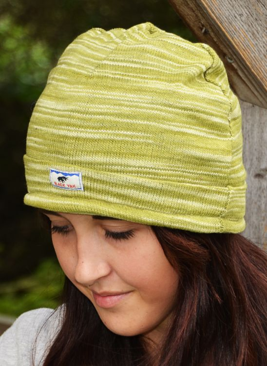 Soft cotton - half fleece lined - turn up beanie - Green
