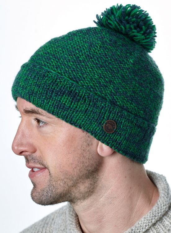 Two tone bobble hat - turn up - pure wool - fleece lining - fern / grey