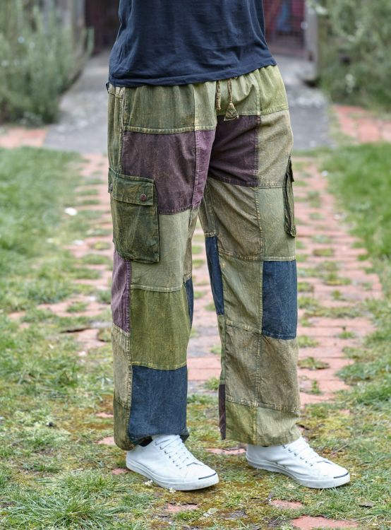 patchwork trousers - greens