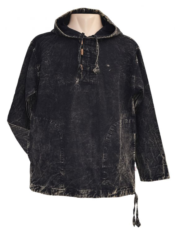 Stonewashed overshirt with toggles - Black