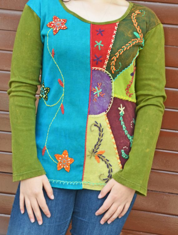Applique & embroidery - stonewashed top - multi greens