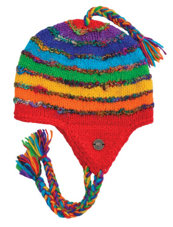 Recycled silk earflap hat - hand knitted - fleece lining - rainbow