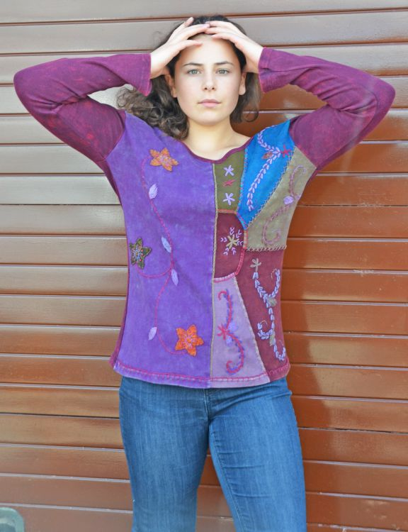 Applique & embroidery - stonewashed top - multi purples