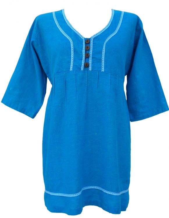 Pin tuck - pure cotton - summer top - blue