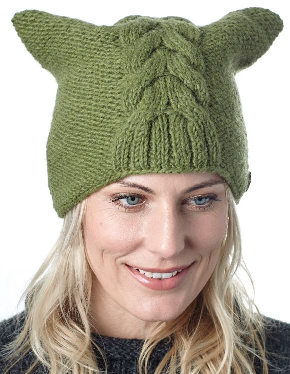 Square cable beanie - green