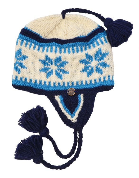 Hand knit - half fleece lined - snowflake - ear flap hat - Blue