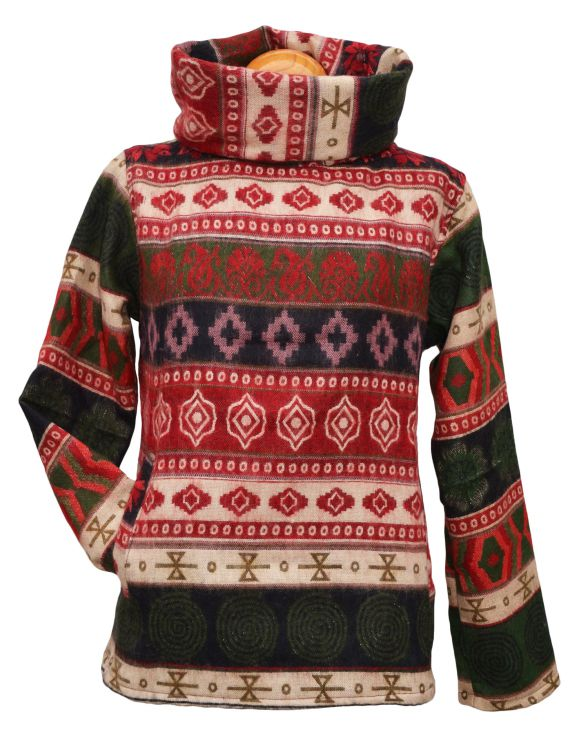 Polo Neck - Blanket Pull On - Red/Green Pattern