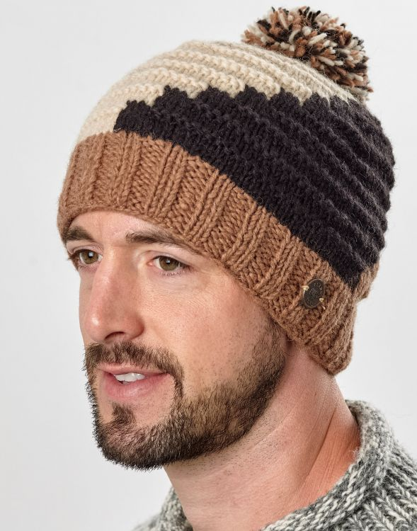 Half fleece lined - reverse ridge bobble hat - Coffee